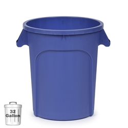 32-Gallon Plastic Trash Container, Blue (DIN 320104)