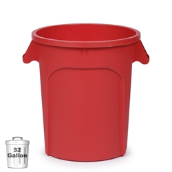 32-Gallon Plastic Trash Container, Red (DIN 320105)