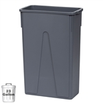 23-Gallon Slim Wall-Hugger Trash Container, Gray (DIN STC2303)