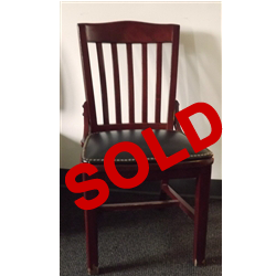 Used Vertical Slat Back Wood Chair with Black Seat