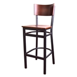 Bar Stool - Black Powder Coated Metal Frame with Walnut Finished Wood Veneer Back and Seat