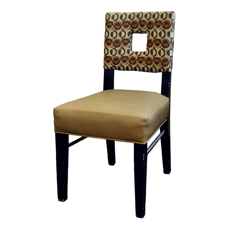 USED   Dining Chair   Wood Frame With Espresso Finish   Upholstered Vinyl  Padded Gold Seat And Padded Cloth Back