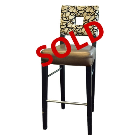 Wondrous Used Bar Stool Wood Frame With Espresso Finish Upholstered Vinyl Padded Gold Seat And Padded Cloth Back Dailytribune Chair Design For Home Dailytribuneorg