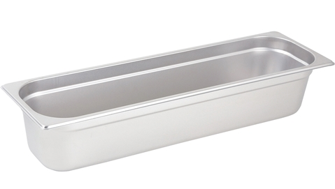 "Gator Chef Half Size Long 4"" Deep Anti-Jam Stainless Steel Steam Table Pan - 24 Gauge (Standard Weight)"