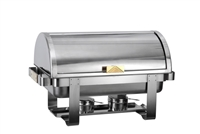 Gator Chef Premium Roll Top Chafer with Mirror Finish Stainless Steel and Gold Accents – 8 Qt. Capacity