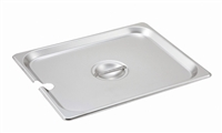 Gator Chef Half Size Notched Cover for Half Stainless Steel Steam Table Pans - 24 Gauge (Standard Weight)