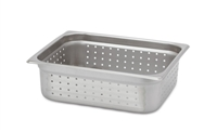 "Gator Chef Half Size Perforated 4"" Deep Anti-Jam Stainless Steel Steam Table Pan - 24 Gauge (Standard Weight)"