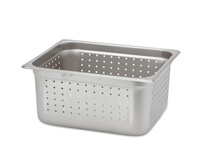 "Gator Chef Half Size Perforated 6"" Deep Anti-Jam Stainless Steel Steam Table Pan - 24 Gauge (Standard Weight)"