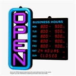 Green Light Innovations Remote Controlled LED Open Sign with Display for Business Hours, (GLI1051)