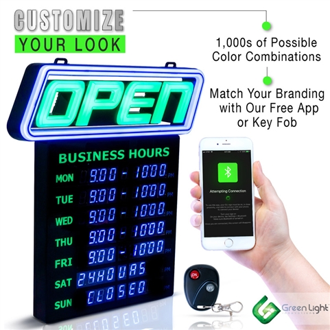 Bluetooth Mobile APP - LED Programmable Open Sign - Display for Business Hours, (GLI1057)