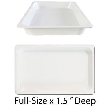 "Thunder Group Gastronorm Melamine Plastic Steam Table Pan - Full Size, 1.5"" Deep (GN1001W)"