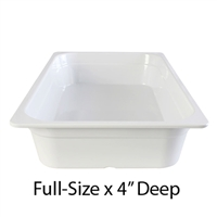 "Thunder Group Gastronorm Melamine Plastic Steam Table Pan - Full Size, 4"" Deep (GN1004W)"