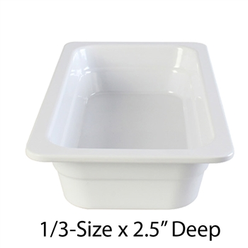 "Thunder Group Gastronorm Melamine Plastic Steam Table Pan - Third Size, 2.5"" Deep (GN1132W)"