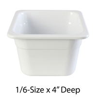 "Thunder Group Gastronorm Melamine Plastic Steam Table Pan - One-Sixth Size, 4"" Deep (GN1164W)"