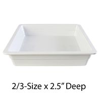 "Thunder Group Gastronorm Melamine Plastic Steam Table Pan - Two-Third-Size, 2.5"" Deep (GN1232W)"