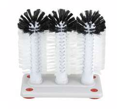 Winco Glass Washer Brush - 3 Brush With Plastic Base, (GWB-3)