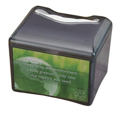 San Jamar Table Top Venue Napkin Dispenser With Advertising Inserts, (H4005TBK)