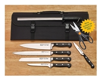 Acero Cutlery by Winco Commercial Forged 7-Piece Knife Kit with Roll Case (KFP-KITA)