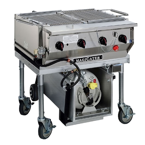 "Heavy-duty 30"" Wide Outdoor Charboiler 4-Burners 80,000 BTUs - Liquid Propane Gas (MagiKitch'n LPAGA-30-SS)"
