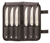 Mercer Genesis 7-Piece Steak Knife Set with Serrated Blade and Roll Case (M21920)