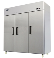 Atosa Three Section Solid Door Reach-In Refrigerator - Top Mount Compressor - 69.2 Cu. Ft. (MBF8006GR)
