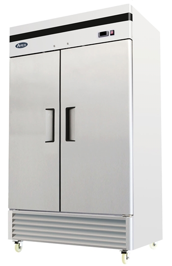 Atosa Two Section Solid Door Reach-In Refrigerator - Bottom Mount Compressor - 46 Cu. Ft. (MBF8507GR)