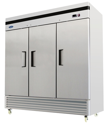 Atosa Three Section Solid Door Reach-In Refrigerator - Bottom Mount Compressor - 71 Cu. Ft. (MBF8508GR)