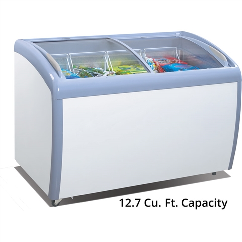 Atosa Glass Curved Top Display Freezer - 12.7 Cu. Ft. (MMF9112)
