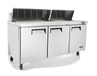"Atosa Refrigerated Sandwich / Salad PrepTable - 3-Door - 72"" Wide (MSF8304GR)"