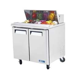 Turbo Air 36-Inch 9.5 Cu.Ft. (2) Door Refrigerated Sandwich Prep Table, With (10) 1/6 Size Pans, (MST-36)