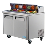 Turbo Air 48-Inch 15 Cu.Ft. (2) Door Single Hood Refrigerated Food Prep Table, With (18) 1/6 Size Pans, (MST-48-18)