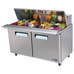 Turbo Air 60-Inch 19 Cu.Ft. (2) Door Double-Hood Refrigerated Food Prep Table, With (24) 1/6 Size Pans, (MST-60-24)