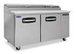 Norlake 67-Inch (2) Door Refrigerated Pizza Prep Table, With (9) 1/3 Size Pans, (NLPT67)
