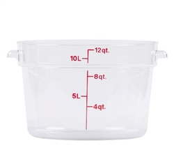 Winco Round Food Storage Container - 12 Qt., Clear