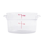 Winco Round Food Storage Container - 2 Qt., Clear