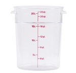 Winco Round Food Storage Container - 22 Qt., Clear