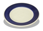 "Plate, 6-3/4"" dia., blue wide rim, ceramic, Piccolo"