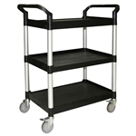 "Thunder Group Black 3-Tier Bus Cart - 33.5"" x 16.13"""