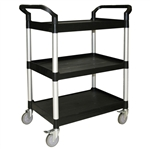 "Thunder Group Black 3-Tier Bus Cart - 40.5"" x 19.75"""
