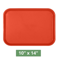 "Thunder Group Fast Food Table Tray - Red - 10"" x 14"" - 12-piece Case (PLFFT1014RD)"