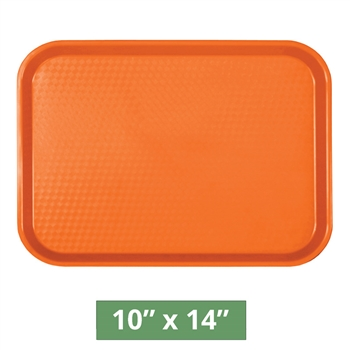"Thunder Group Fast Food Table Tray - Orange - 10"" x 14"" - 12-piece Case (PLFFT1014RR)"