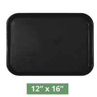 "Thunder Group Fast Food Table Tray - Black - 12"" x 16"" - 12-piece Case (PLFFT1216BK)"