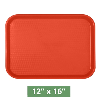 "Thunder Group Fast Food Table Tray - Red - 12"" x 16"" - 12-piece Case (PLFFT1216RD)"
