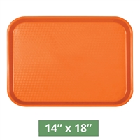 "Thunder Group Fast Food Table Tray - Orange  - 14"" x 18"" - 12-piece Case (PLFFT1418RR)"