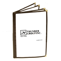 "Thunder Group Menu Cover - Four Pocket Book Fold, 8-1/2"" x 14"", Brown Trim (PLMENU-4BR)"