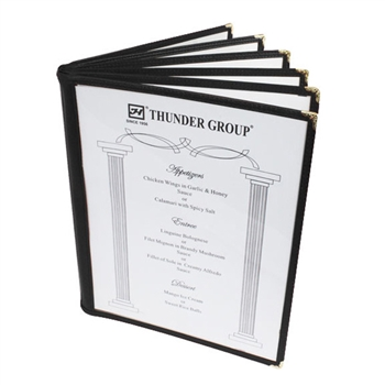 "Thunder Group Menu Cover - 6 Pocket Book Fold, 8-1/2"" x 11"", Black Trim (PLMENU-6BL)"