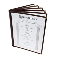 "Thunder Group Menu Cover - 6 Pocket Book Fold, 8-1/2"" x 11"", Brown Trim (PLMENU-6BR)"