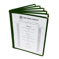 "Thunder Group Menu Cover - 6 Pocket Book Fold, 8-1/2"" x 11"", Green (PLMENU-6GR)"