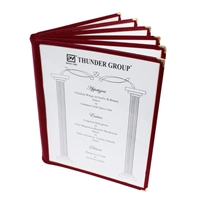 "Thunder Group Menu Cover - 6 Pocket Book Fold, 8-1/2"" x 11"", Maroon (PLMENU-6MA)"