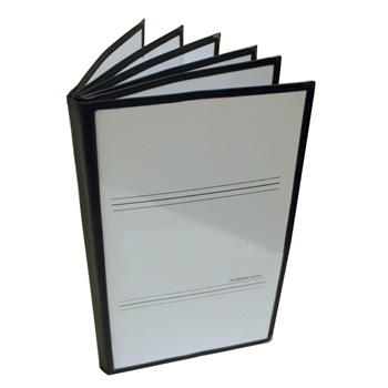 "Thunder Group Menu Cover - 6 Pocket Book Fold, 7-1/2"" x 13-1/4"", Black Trim (PLMENU-6TGI)"